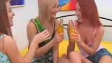 Russian teens play with bottle